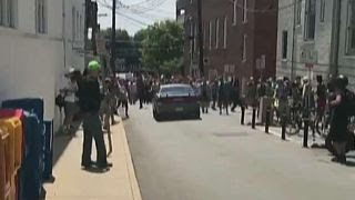 Video shows car crashing into Charlottesville protest