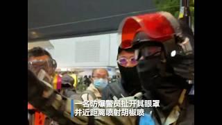 香港元旦游行议员被撤下眼罩喷胡椒喷剂