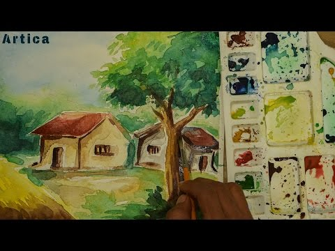 Watercolor Landscape Painting | Village House