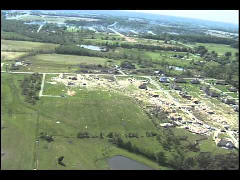 Aerial View of the WAFF-TV Radar Hit by EF5 Tornado on April 27, 2011 in North Alabama