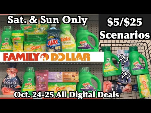 Family Dollar Couponing | $5/$25 Scenarios For Sat & Sun Only | Oct 24th-25th | 3 All Digital Deals