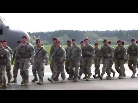173d Infantry Brigade Combat Team (Airborne) Soldiers arrive in Poland.