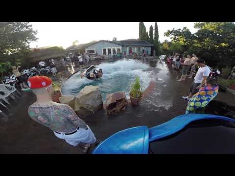 crazy guy rides his brand new jet ski in a pool