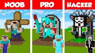 Minecraft NOOB Vs PRO Vs HACKER STATUE HOUSE BU LD CHALLENGE In Minecraft  Animation