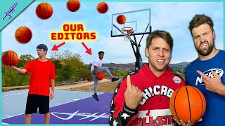 Our EDITORS Challenged us to Trick Shot H.O.R.S.E. and 2v2!