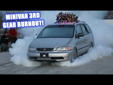 Epic Turbo Minivan Burnout! (First Real Burnout at the New Shop)