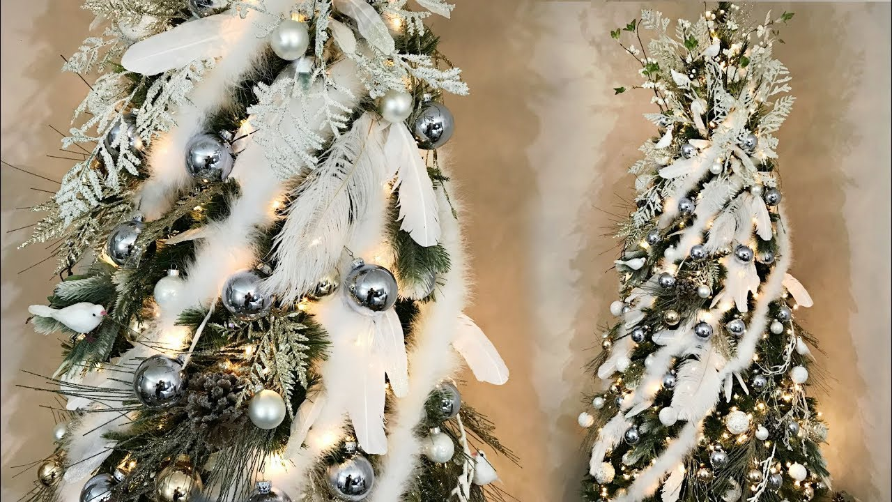 Elegant feather christmas tree white ice blue gold for Blue gold and white christmas tree