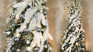 Elegant Feather Christmas Tree  - White, Ice Blue, & Gold - Tree Decorating How To