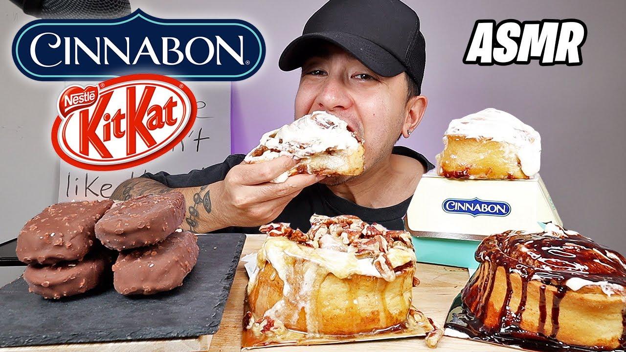 ASMR I Was CRAVING Cinnabons And Kit Kat Ice Cream Bars | Real Eating Sounds