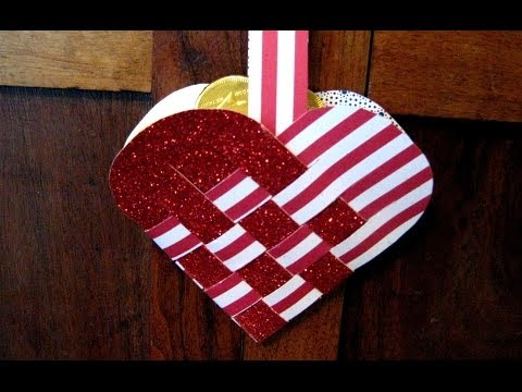 How to fold, weave a paper heart basket for Mothers Day card