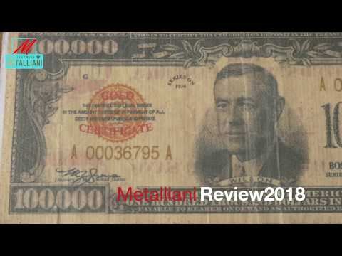 FOR SALE !!! $100,000 Gold Certificate Bank Note American Treasury 100,000 dollar