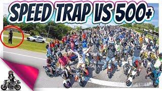 COP Speed Trap vs 500+ Honda Groms!