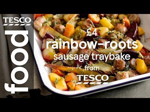 £4 sausage and root veg traybake | Tesco Food