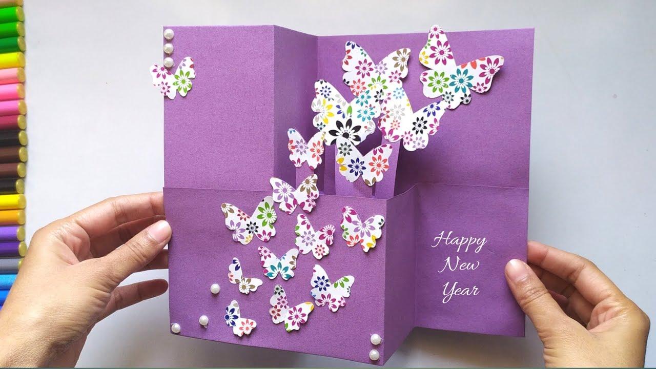 popup butterflies card for new year  birthday  teacher
