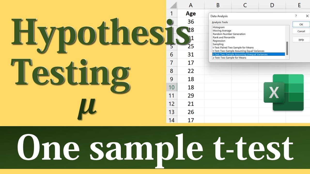 T Test Excel >> Hypothesis T Test For One Sample Mean Using Excel S Data Analysis