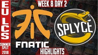 FNC vs SPY Highlights | EU LCS summer 2018 Week 8 Day 2 | Fnatic vs Splyce