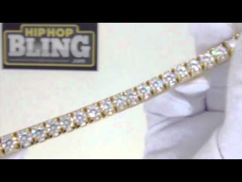 .925 Sterling Silver 3D Gold Tennis Bracelet | Bling Bling