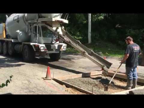 Cement Mixer Truck Pouring Concrete Pad