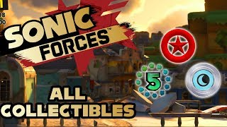 Sonic Forces- Stage 3 Ghost Town - All Red Rings, Number Rings and Silver Moons