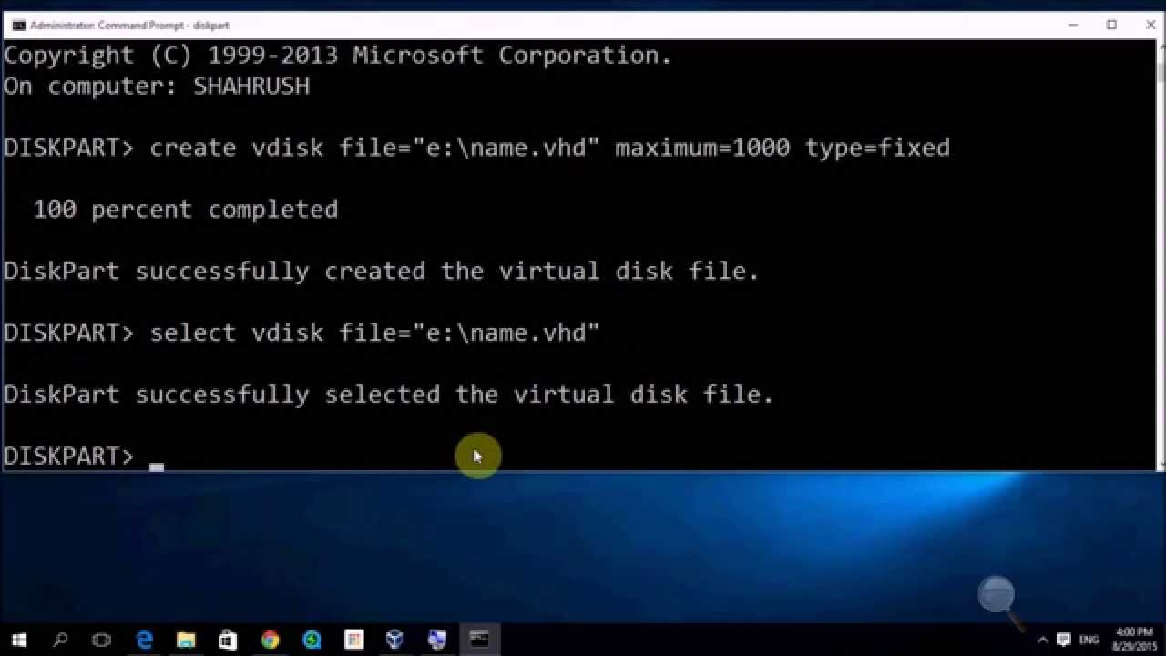 create and mount virtual disk VHD file using Diskpart command windows 10