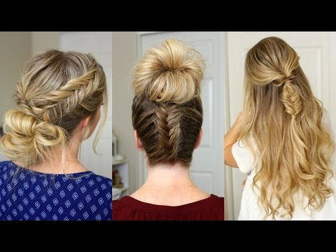 3 Fishtail Braid Hairstyles | Missy Sue - YouTube