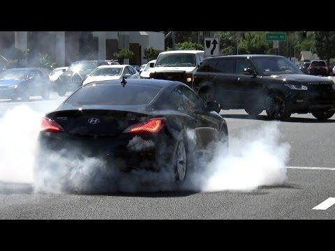 Hyundai Genesis Burnout Police Evasion