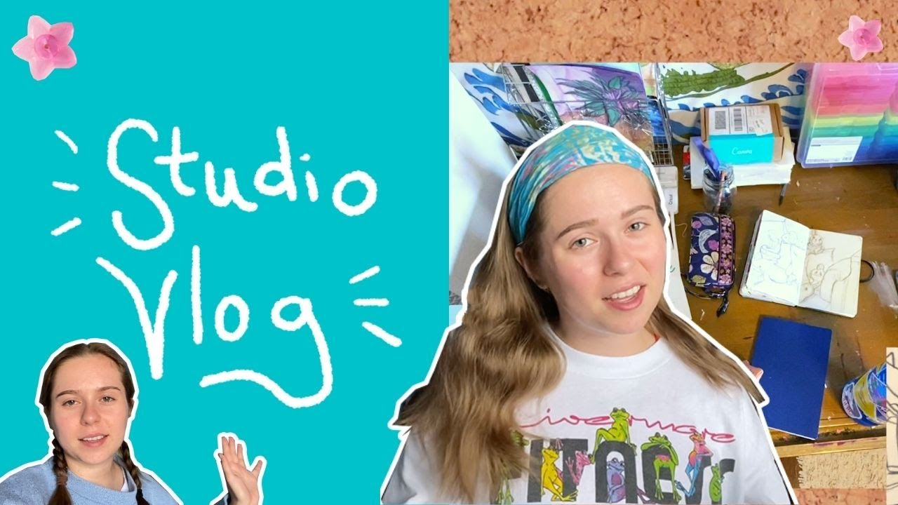 Weekend Studio Vlog! drawing, freelancing, working on redbubble, podcasting, planning new work!