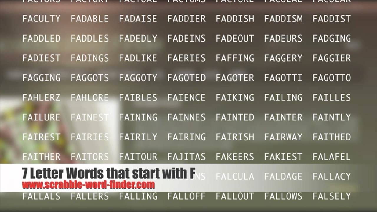 7 letter words that start with F   YouTube