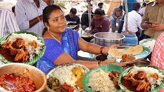 Hard Working Women Selling Cheapest Roadside Unlimited Meals | Non Veg Meals | Foodcrafts