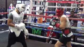 UFC fighter Charles Rosa sparring at the Mayweather Boxing Club