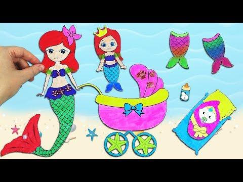 Family Mermaid Paper Dolls & How to Make a Baby Stroller, Mermaid Tails, Mermaid Room
