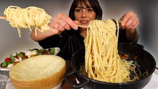 CLASSIC CARBONARA RECIPE & CHEESE WHEEL 먹방 MUKBANG