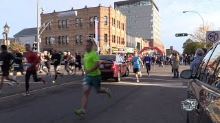 LADY DRIVES CAR INTO THE START OF THE PEI MARATHON (Uncut Footage)