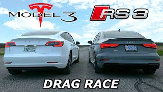 DRAG RACE - Audi RS3 vs Tesla Model 3 // Throttle House Track Series