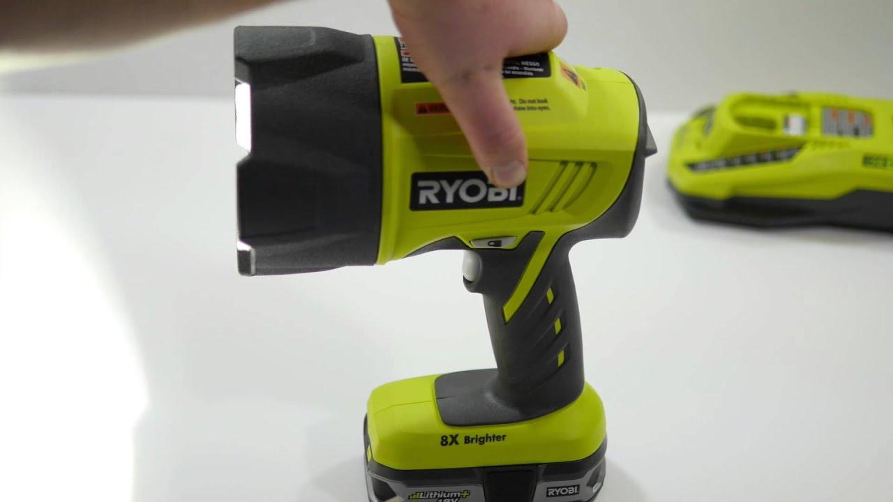 ryobi 2 800 lumen cordless xenon hi beam spotlight youtube. Black Bedroom Furniture Sets. Home Design Ideas