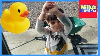 Rubber Ducky Basketball with the Costway Garden Yard Cart Kids Wagon and CUTE Dog - WILLY