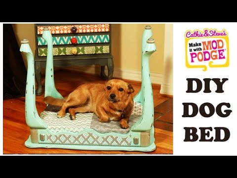 DIY Mod Podge Furniture Flip Dog Bed Made from an End Table YouTube