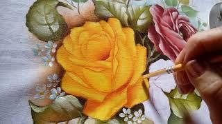 Rosa amarela – Pintura em tecido