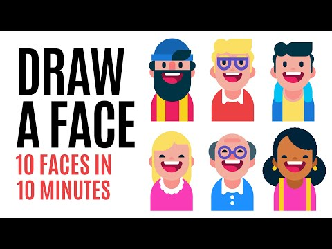 how-to-draw-a-face,-10-flat-design-characters-in-10-minutes,-speed-drawing-in-adobe-illustrator