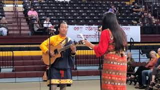 HH Sakya Trichen Rinpoche Cultural Exchange Santa Fe Indian School - Tibetan Honor Song Clip 1