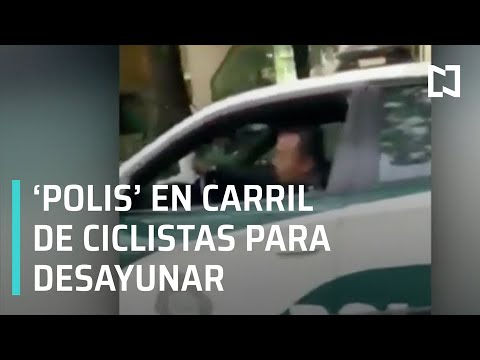 Policías estacionan su patrulla en carril para ciclistas y se ponen a desayunar - Despierta