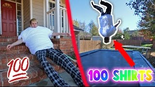 100 LAYERS OF SHIRTS BACKFLIP CHALLENGE!