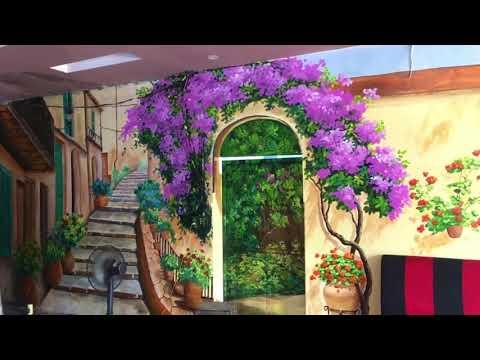 Vẽ tranh tường hoa lá đẹp cho quán cafe, trà chanh tại Đông Anh, Hà Nội – Vẽ tranh tường Hà Nội rẻ đ