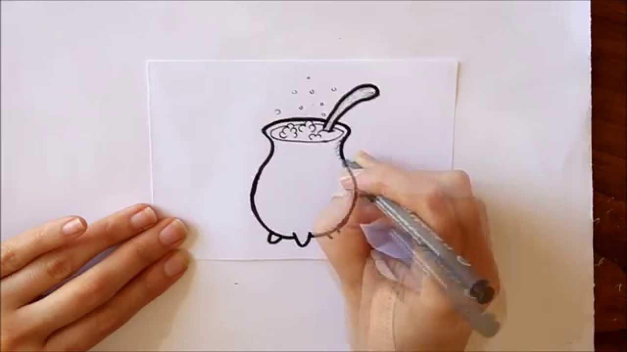 Cmo dibujar un Caldero de Bruja Mini Serie Halloween Dibuja