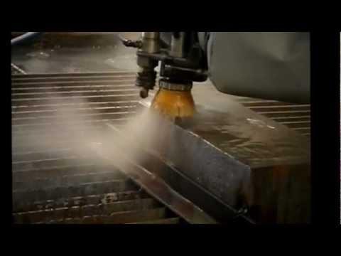 Water jet corte placa 6 de acero 1045 youtube for Placa de acero