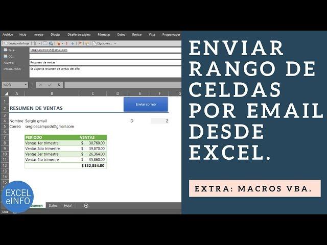 Enviar rango de celdas por email a varios destinatarios desde Excel @EXCELeINFO