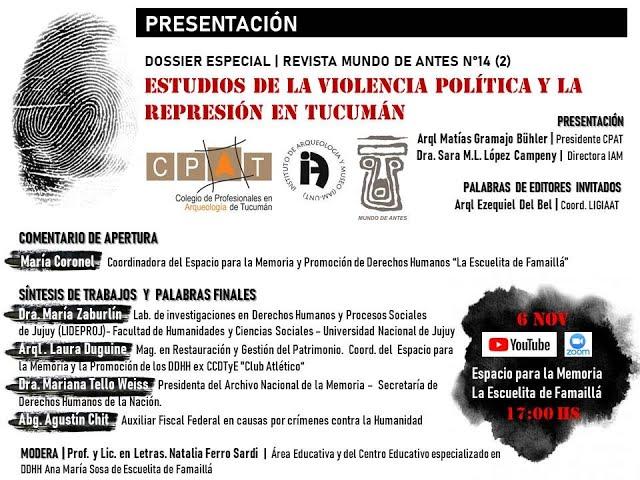 """Presentación Dossier: """"Estudios de la violencia política y la represión en Tucumán""""."""