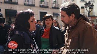 Pablo Iglesias con los trabajadores y las trabajadoras del Teatro de la Zarzuela