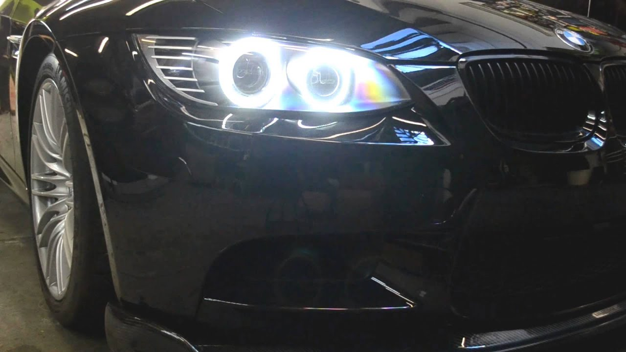 bmw m3 oneighty custom headlights e90 e92 e93 led angel eyes lci youtube. Black Bedroom Furniture Sets. Home Design Ideas