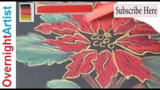 How To Draw Christmas Flower Poinsettia Pastels Easy Step-By-Step